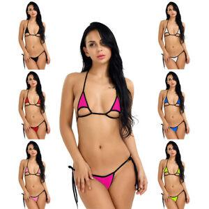 4e288835c1f38 US Sexy Women 2Piece Bikini Micro Thongs Set Bandage Swimsuit ...