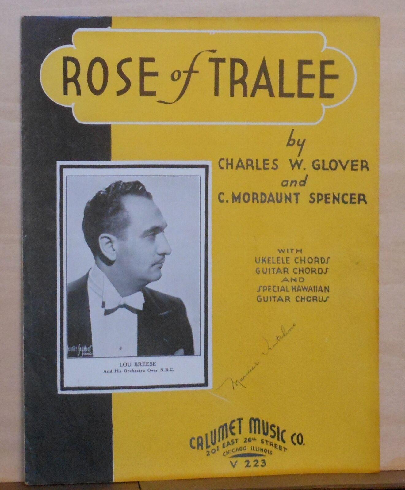 Rose Of Tralee 1935 Sheet Music Photo Of Lou Breese Uke