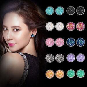 Chic-Women-Round-Ear-Stud-Stainless-Steel-Glitter-Rhinestone-Earring-Jewellery