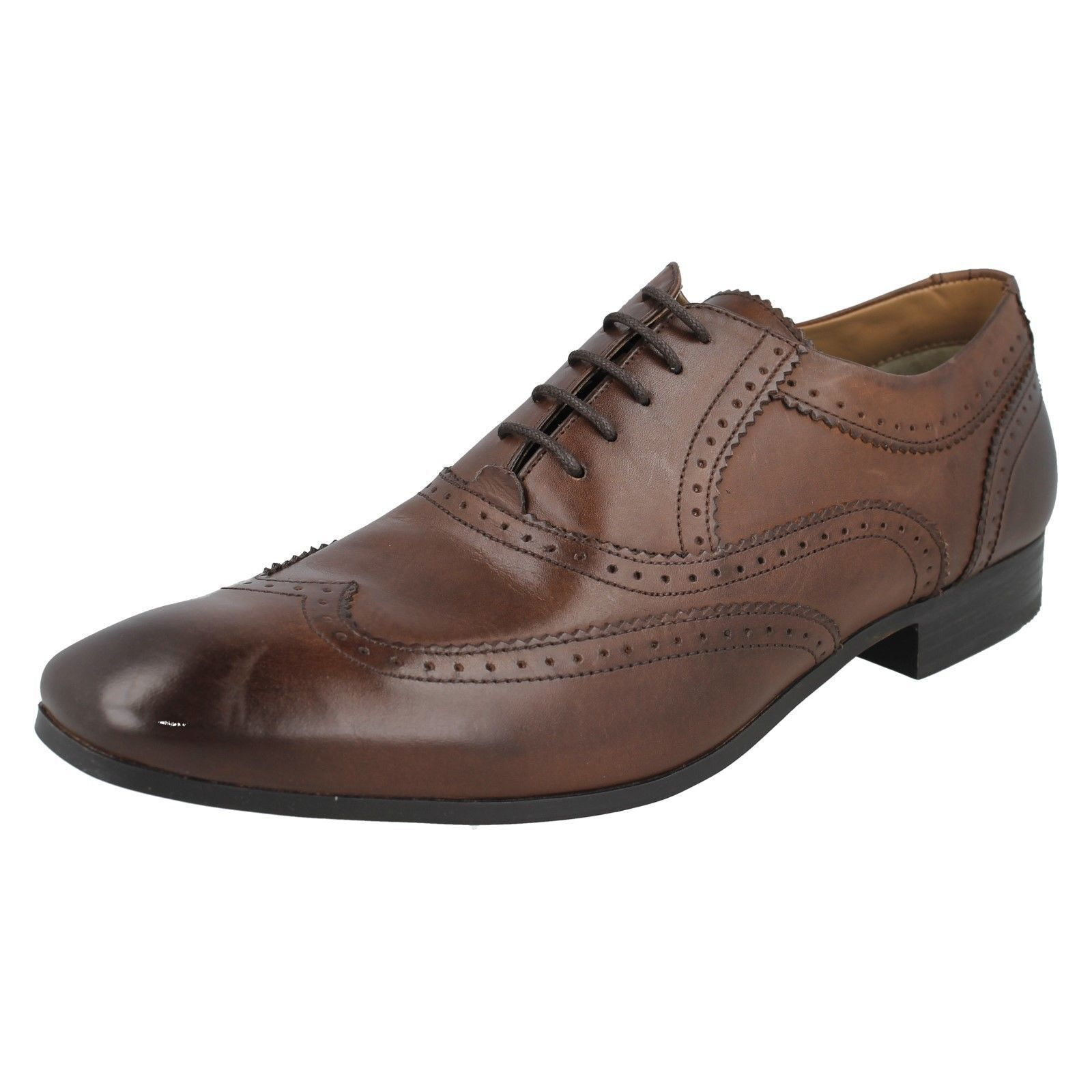 Herren Waxy Tan/Waxy Braun  Leder Lace Court Up Leder Formal Schuhes Court Lace MTO 016013