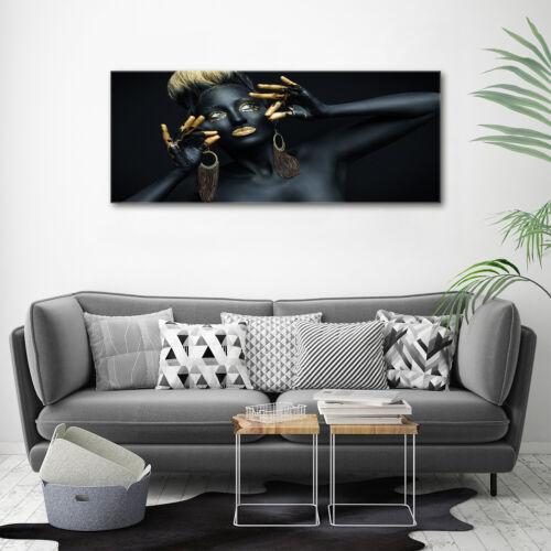 Wandbild aus Plexiglas® Druck auf Acryl 125x50 Menschen Frau in Schwarz