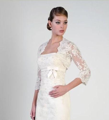 2015 NEW White Ivory Lace Shawl Bolero Wedding Jacket Bridal Size 3/4 Sleeve