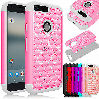 NEW Luxury Bling Rugged Rubber Armor Phone Case Cover For Google Pixel /Pixel XL