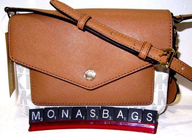 87c3255c59c9 Michael Kors Greenwich Small Flap Crossbody Vanilla PVC Signature Acorn  Leather