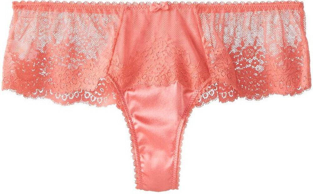 MIMI HOLLIDAY Flambeau Coral Lace & Silk Boyshort BNWT