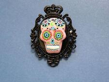GOTH / Day of the Dead PINK Sugar Skull Cameo Black Plt BROOCH/PIN /Tie Tack