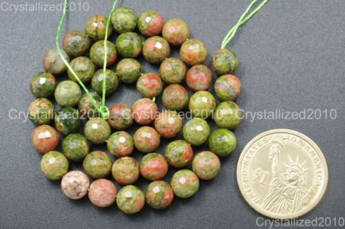"""Natural Unakite Gemstone Faceted Round Beads 2mm 4mm 6mm 8mm 10mm 12mm 14mm 15/"""""""
