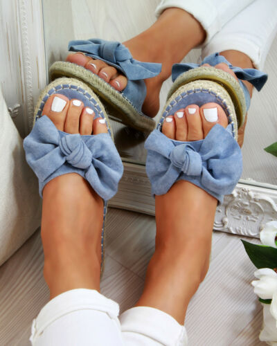 UK LADIES WOMEN FLAT SUMMER BEACH BOW SLIDERS SLIP ON FASHION SANDALS SHOES