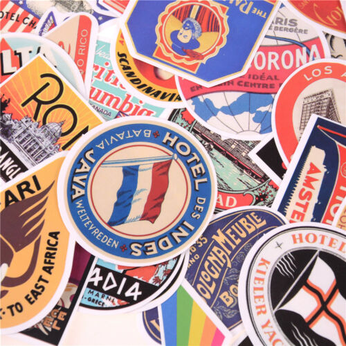55pcs Retro Style Travels Hotels Logo Stickers Trip Luggages Waterproof Stickers