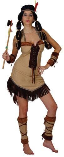 Native Indian Princess Wild West Pocahontas Ladies Fancy Dress Costume XS to XL