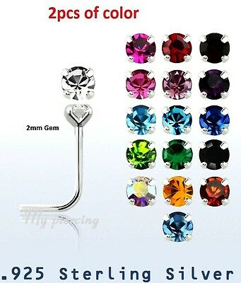 Spirited 2pcs Of Color 22g~2mm Round Prong Set Cz .925 Sterling Silver L-shaped Nose Stud To Win A High Admiration And Is Widely Trusted At Home And Abroad. Jewellery & Watches