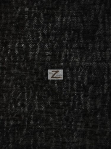 """Black 57/"""" WIDTH SOLD BY THE YARD CRUSHED CHENILLE EVEREST FABRIC"""