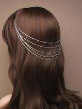 New Silver Coloured Vintage Cascaiding Hair Head Chain Wedding Bridesmaid Partys