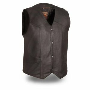 Image is loading First-Manufacturing-mens-Texan-Leather-Vest-Black-4X-