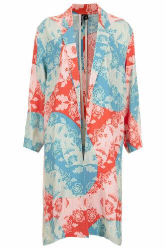 Frakke Split Kinesisk Topshop Tunika Kimono Eastern Blomster Kaste Side Jacket Red BfqRtwz