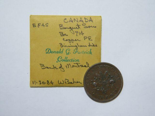 CANADA BOUQUET SOU HALF PENNY TOKEN EX: DONALD G PARTRICK BRETON 714 #SAT 🌈 ⭐🌈