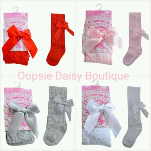 Baby Girls Gorgeous Ribbon Bow Tights Loveheart Design ☆  Newborn to 24mths ☆