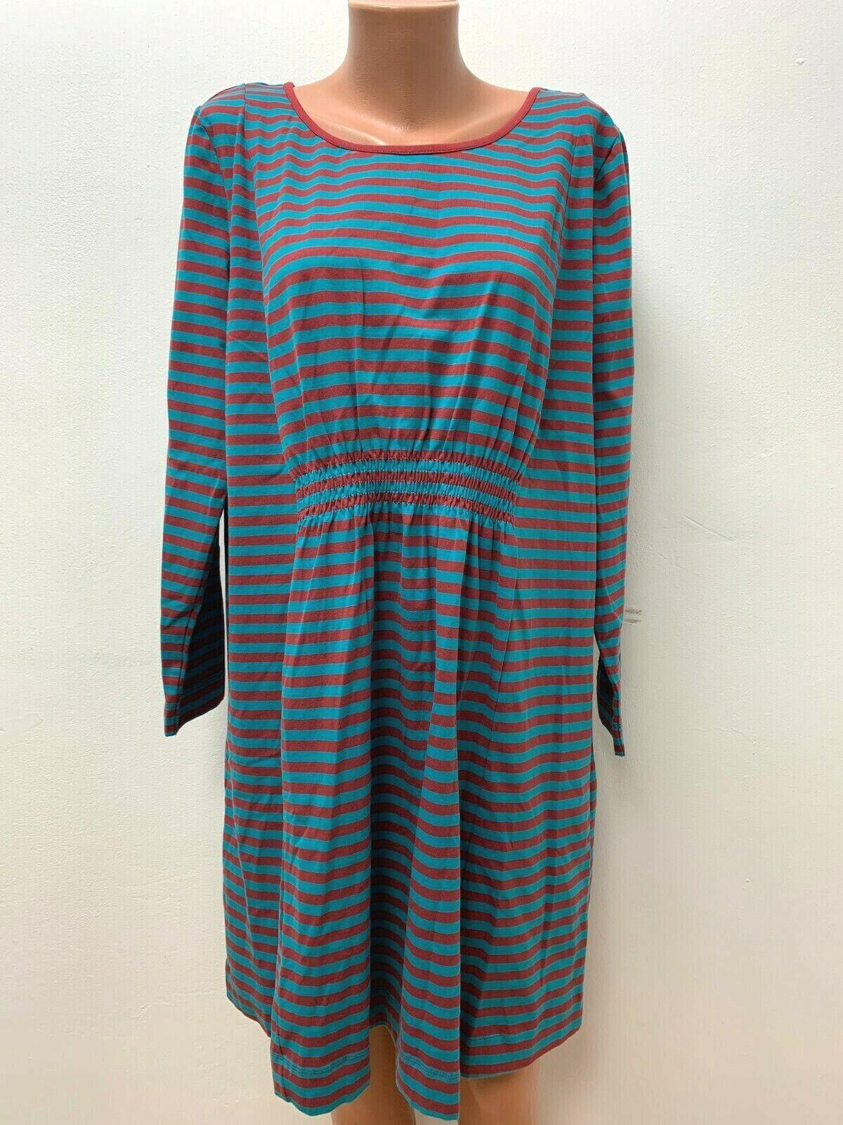 DEERBERG Gr.XL Stretch Kleid Jersey Blau Rot Gestreift langarm