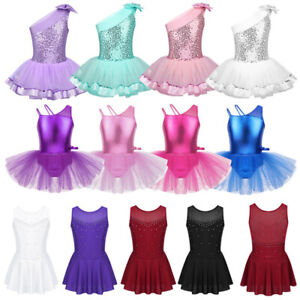 Girls-Ballet-Dance-Dress-Kids-Sparkle-Leotard-Tutu-Skirt-Gym-Skating-Dancewear