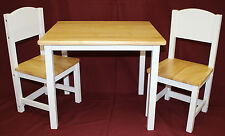 Kids Table & Panel Back Chair Set - 3 Pcs (  in White Base and Natural Top )