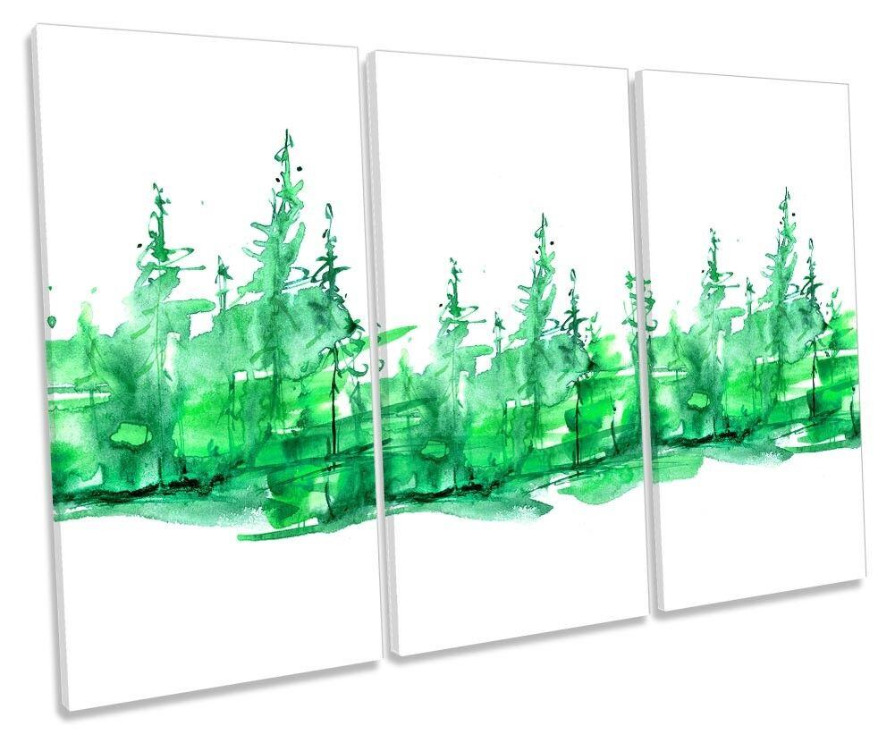 Grün Forest Watercolour Framed TREBLE CANVAS PRINT Wall Art