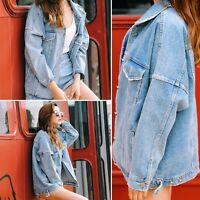 Retro Womens Vintage Denim Oversized Vintage Jeans Jacket Boyfriend Loose Coat