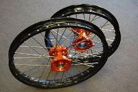 Ktm Sx 85 Ktm85 Black Rim Cnc Hub 19/16 Wheels Set Orange 2003-2015 H Rmt04