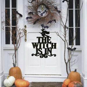Halloween-The-Witch-Is-In-Sign-Non-woven-Witch-Hanging-On-Party-DecoratioGJ