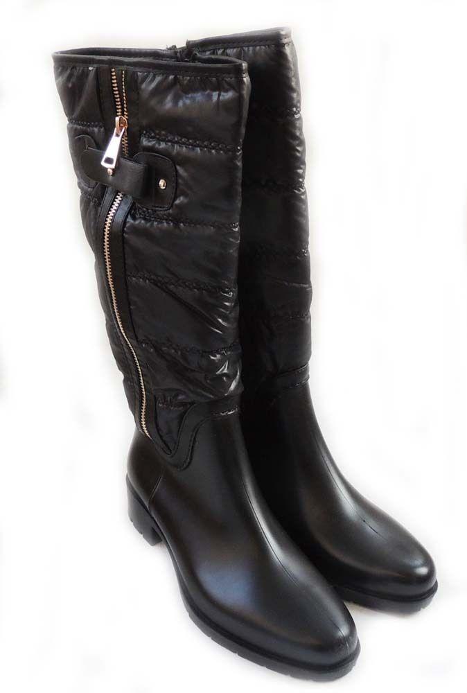 Bottes femme-Haute Mode MATTE VINYL Funky Bottes Avec Soft Cushion Top Noir