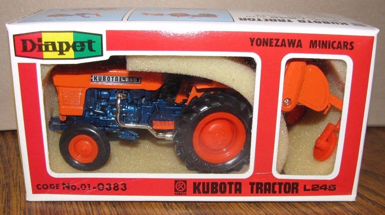 Kubota L245 Utility Tractor & redary Tiller Toy Set 1 23 Diapet Die Cast Metal
