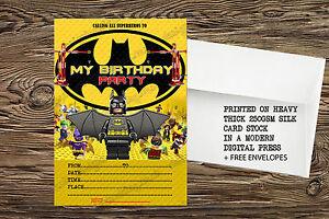 Detalles De Lego Batman Película Fiesta Invitaciones Cumpleaños Invita A Lego Hero X 8 Tarjetas De Espesor Ver Título Original