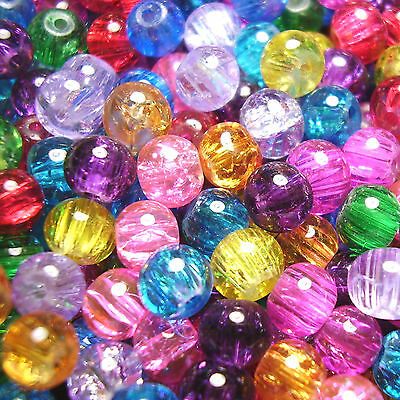 300 6mm Round Crackle Glass Beads Mixed Colours