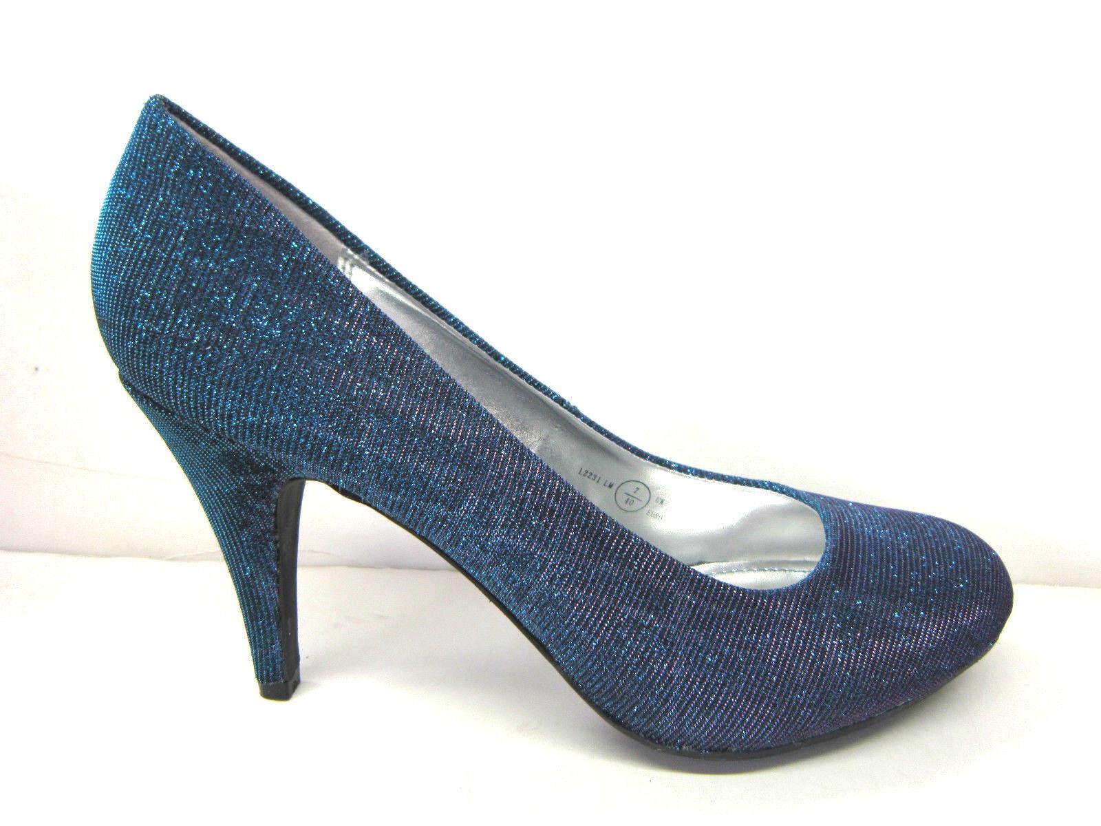 Moda jest prosta i niedroga **SALE** Ladies Blue Multi Colour Changing Glitter Effect Court Shoes. L2231