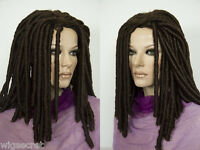Dreadlock Medium Length Curly Brunette Wigs Without Bangs