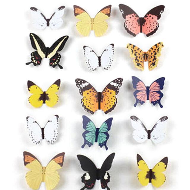 15pcs diy 3d butterfly wall stickers art decal paper butterflies