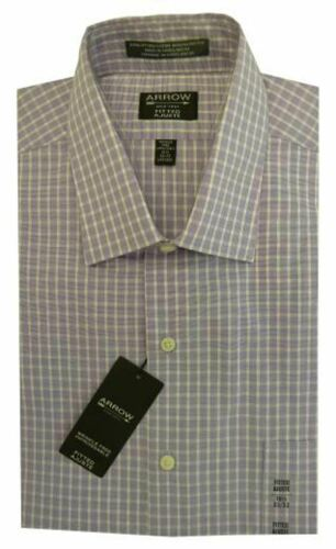 Mens Dress Shirt Arrow Tailored Fitted Cotton Rich Easycare Long Sleeve