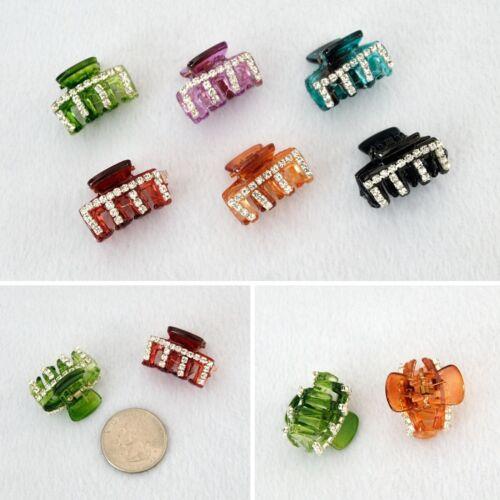 Acrylic Crystal Rhinestone Mini Hair Clips