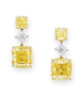 Details About 5ct Cushion Canary Yellow Simulnt Diamond Dangle Drop Earrings White Gold Silver