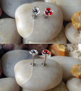 PansyPoppy Effect Flower with Pearl Middle Labret Tragus Monroe Stud Cartilage 2 colours 1.2mm 8mm Bar