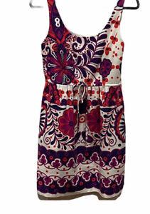 Trina Turk Sleeveless Dress Tie Waist Purple Orange White Size 6 Clemson Gameday