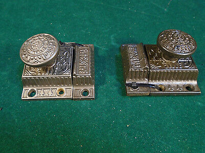 PAIR of MATCHING VICTORIAN EASTLAKE CABINET LATCHES w/ KEEPERS BEAUTIFUL (6233)