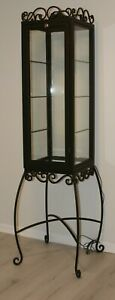 Vintage French Metal & Glass Lighted Display Cabinet With Wrought Iron Stand