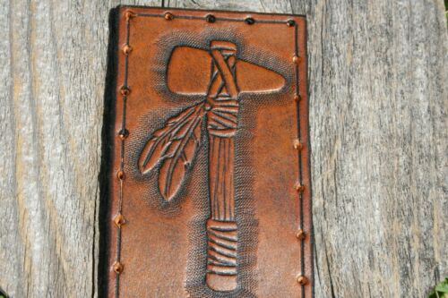 """4/"""" x 2.75/"""" Hatchet- Genuine Leather Leather Patch Hand Tooled Axe"""
