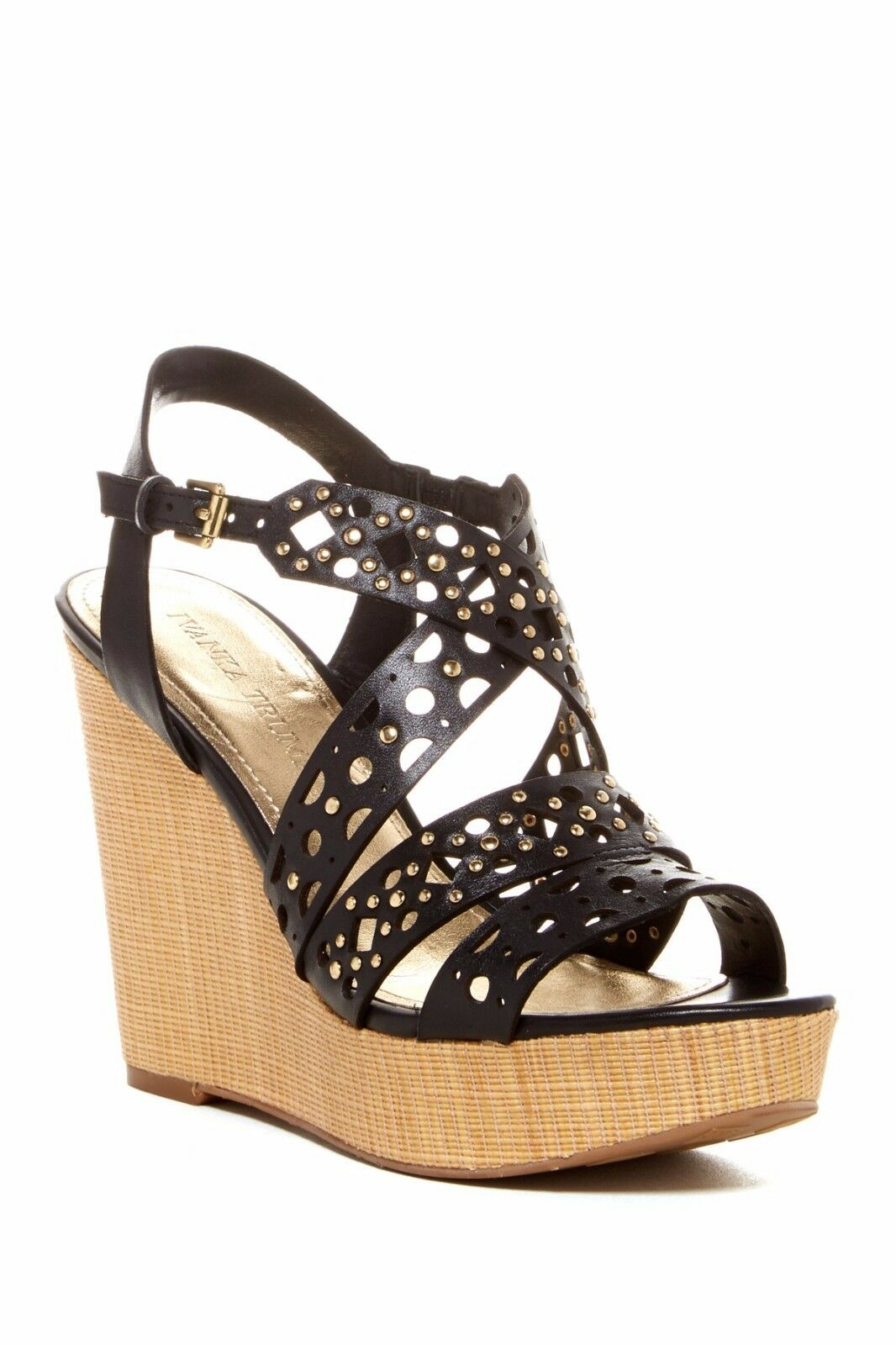 NIB $145 Ivanka Trump Halera Black Leather Perforated Wedge Sandal Heels 9 & 9.5