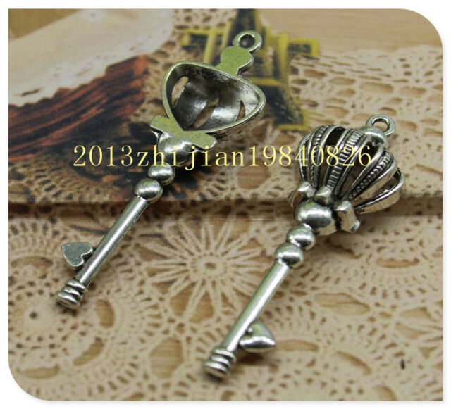 wholesale 5/15pcs delicate lovely alloy Lovely Crown key Charm pendant