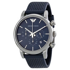 Emporio Armani Classic Watch Silver/Blue Leather Analog Quartz Men's Watch AR