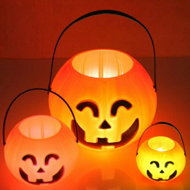 Halloween Festival Decoration Pumpkin Bucket Jack O Hanging Lantern Light