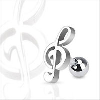 """16g 1/4"""" Music Note Treble Clef Cartilage Tragus Ear Earring Barbell"""