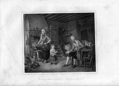 Stampa antica IL NONNO E LA NIPOTINA la pipa 1852 Old Print Engraving