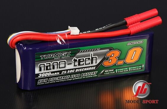 Turnigy Nano-Tech 3000mAh 4S 14.8V 25-50C Lipo Battery RC Car Heli Plane
